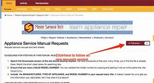 Following Appliance Service Manual Requests To Be Notified