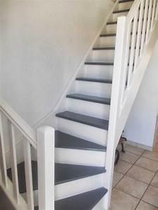Escalier Bois Blanc : escalier blanc et bois avec tourdissant 2017 et repeindre un escalier en blanc des photos ~ Melissatoandfro.com Idées de Décoration