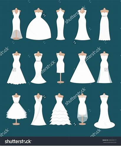 Different Dresses Styles Bride Vector Modern Silhouette