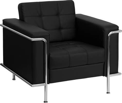 contemporary black leather chair with stainless steel