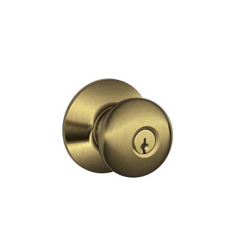 schlage door knob shop schlage f plymouth antique brass keyed entry door