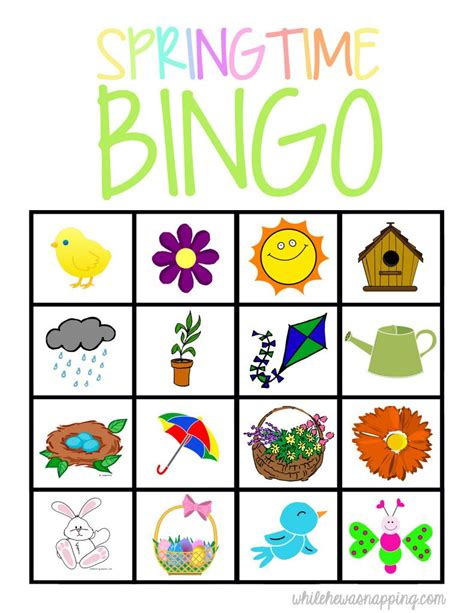 springtime bingo printable best family food tips 685 | 294ab730f18cec36b90307a7b15fcf31