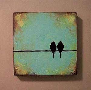 Easy painting with two birds on a wire. | Art and design ...