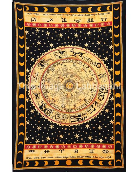 yellow zodiac horoscope tapestry indian astrology hippie bedspread