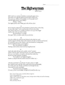 the highwayman worksheets adriaticatoursrl
