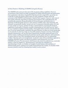 In Silico Predictive Modelling Of Crispr  Cas9 Guide Efficiency