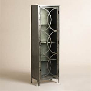Silver metal and glass half circle eriksen curio cabinet for Kitchen cabinets lowes with metal wall art circles