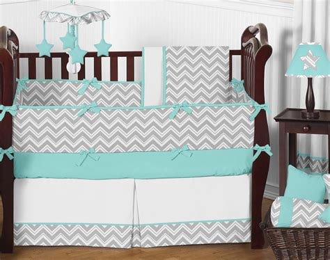 unique modern gray turquoise and white chevron baby boy or