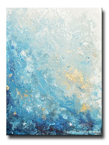 Original Art Modern Blue Abstract Painting Navy White Grey