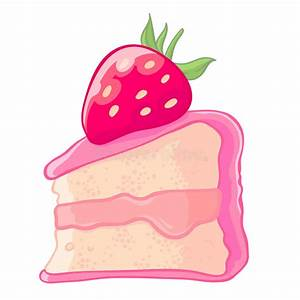 Cartoon Icon Of A Slice Of Strawberry Sponge Cake With Jam ...