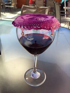 ravelry lacy beaded wine glass cover pattern  oombawka