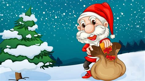 merry christmas santa claus christmas tree cartoon hd