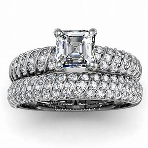 asscher diamond engagement ring wedding set unusual With diamond set wedding rings