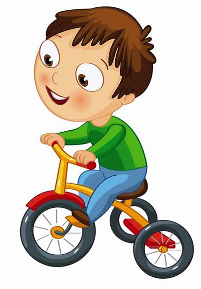 Clipart Bicycle Cartoon Tricycle Kid Playing Clip