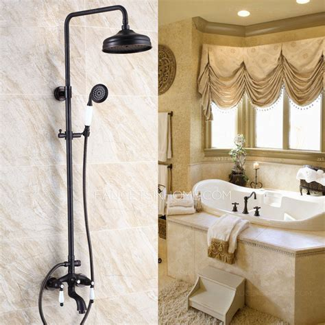 Antique Oil Rubbed Bronze Black Two Handle Outdoor Shower