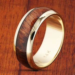 14k yellow gold koa wood wedding ring 7mm band width With koa wedding rings