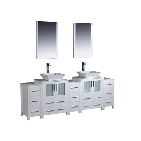 fresca torino 84 in vanity in white with glass