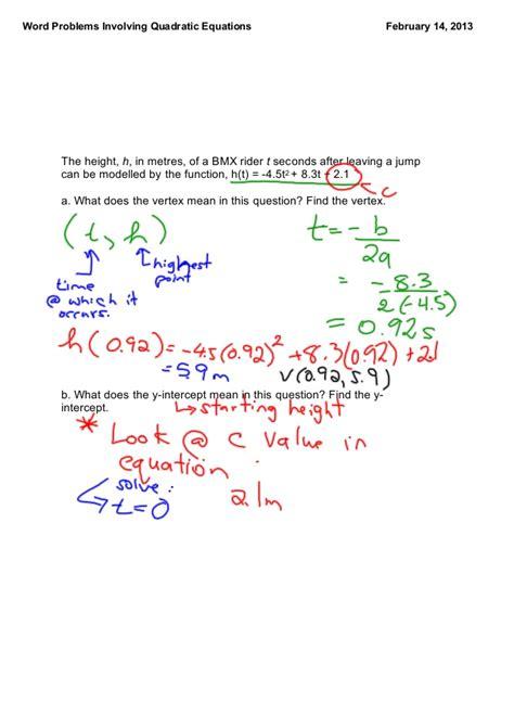 worksheets quadratic equation word problems worksheet
