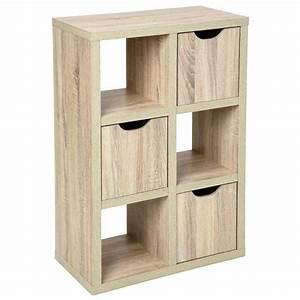 meuble d39appoint etagere design 6 cubes 3 portes en bois With meuble cube