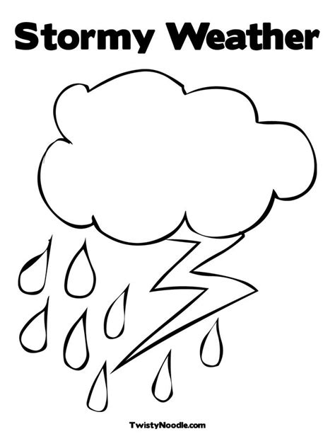 C Is For Cloud Coloring Page Twisty Noodle Cloud Lightning Coloring Sheet Weather