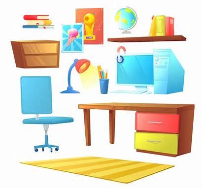 Desk Computer Bed Cartoon Interior Object Pc