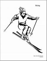 Skiing Coloring Downhill Winter Olympic Abcteach Sport Event sketch template