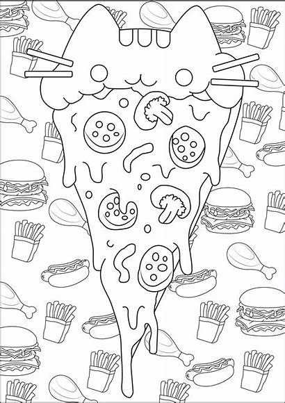 Doodle Coloring Pages Pusheen Adults Pizza Doodling