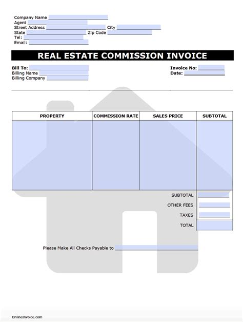real estate commission invoice template onlineinvoicecom