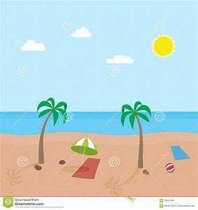 Tropic Scene Of Sunny Beach With Different Objects. Vector ...