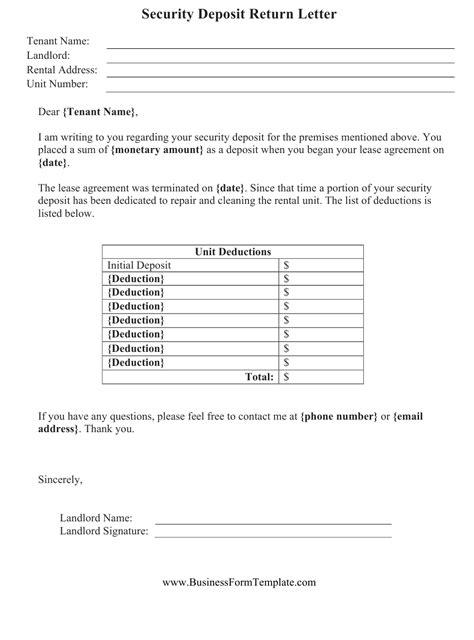 security deposit return letter template  printable