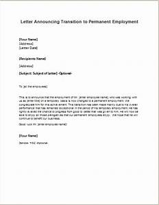 Permanent Employment Announcement Letter writeletter2