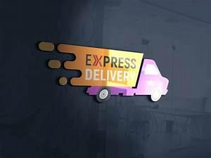express, delivery, logo, design, psd, , u2013, graphicsfamily