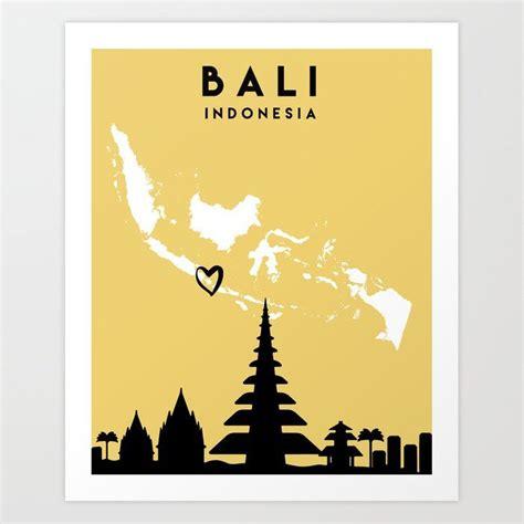 bali indonesia love city silhouette skyline art