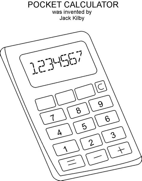 calculator coloring page line of a busy