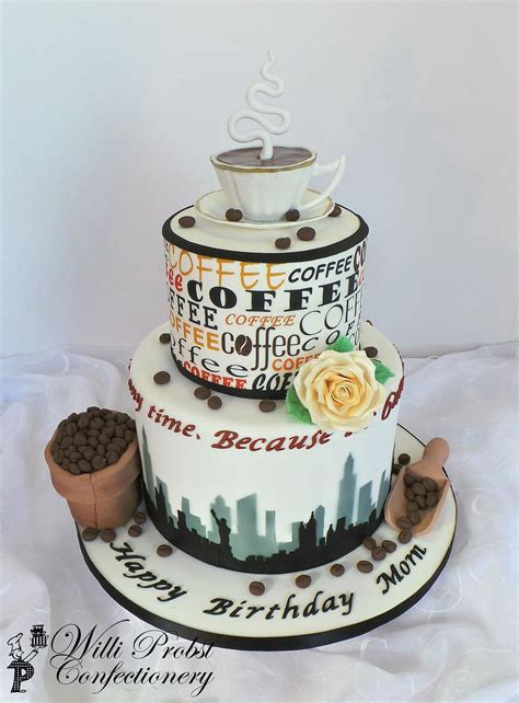 The cake is often filled with flavoured butter icing and topped with more butter icing and walnut halves. Coffee themed birthday cake with fondant decor and edible print and airbrushing | Themed ...