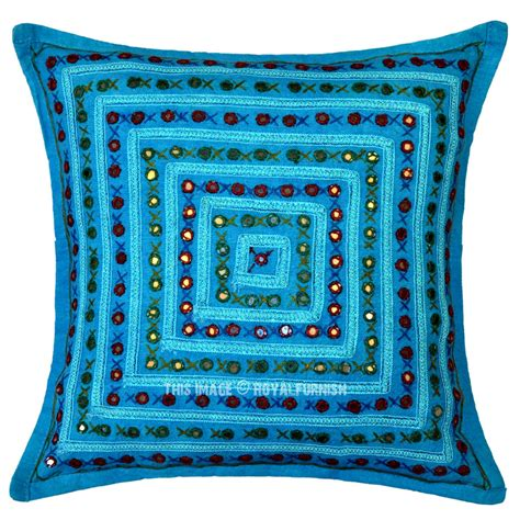 square pillow covers turquoise blue decorative square box mirrored embroidered