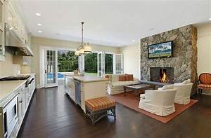 Kitchen living room combo floor plans beige bevel stone for Kitchen colors with white cabinets with candle holder fireplace