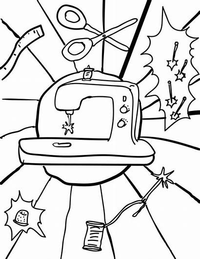 Sewing Coloring Pages Machine Compost There Away