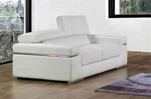 Canapé Cuir Blanc 2 Places : canap canap 2 places en cuir italien alonso blanc mobilier priv ~ Teatrodelosmanantiales.com Idées de Décoration