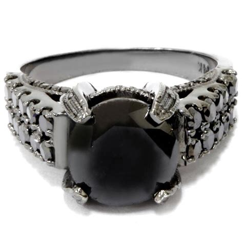 5 14ct Treated Black Diamond Engagement Ring 14k Black
