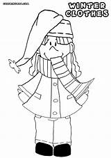 Scarf Coloring Pages Winter Cartoon Clipart Clothing Library sketch template