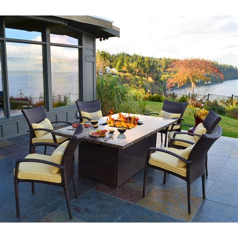 high top patio table with pit south all weather wicker dining pit chat set