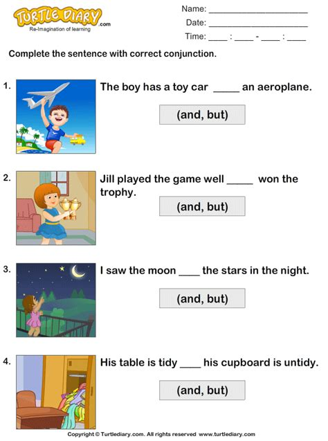 choose  correct conjunction worksheet turtle diary