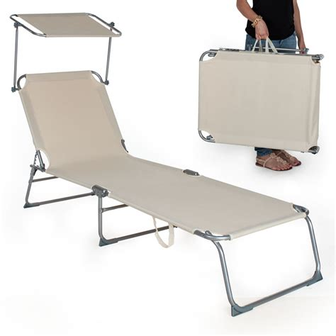 si鑒e de plage pliant chaise longue de jardin pliante transat bain de soleil pare soleil beige neuf ebay