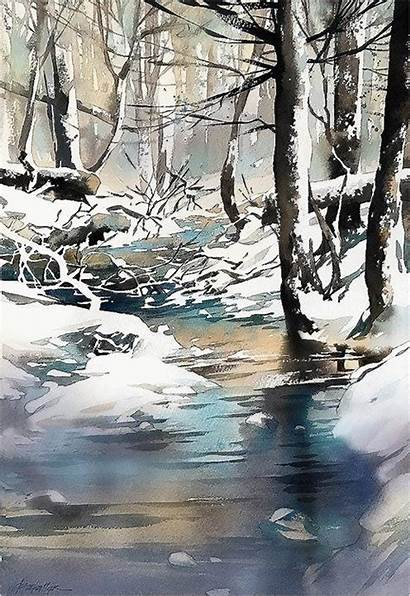 Watercolor Winter Landscape Painting Schaller Thomas Paintings