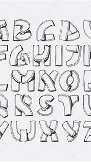 3d letters writing | Hand drawn vector font, imitation of ...