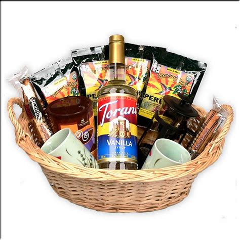 Coffee Lover's Gourmet Coffee Gift Basket with a French Press Coffee Maker and Mugs.