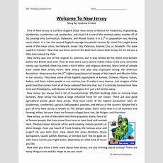 Reading Comprehension Worksheet  Welcome To New Jersey