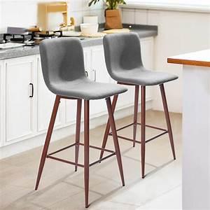 Furniturer, 29, In, Full, Back, Bar, Stools, Set, Of, 2, Counter, Stools, Wood, Veneer, Metal, Legs, Fabric
