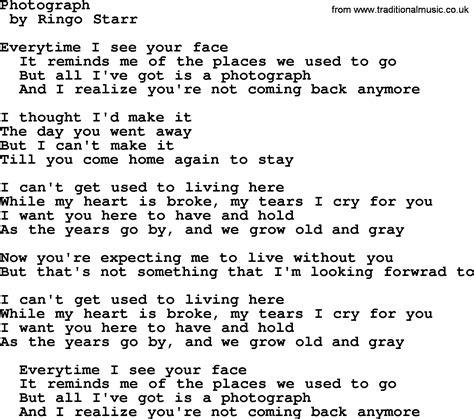 Bruce Springsteen Song Photograph, Lyrics